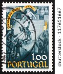 Small photo of PORTUGAL - CIRCA 1972: a stamp printed in the Portugal shows Death of Nuno Gonzalves, 600th Anniversary of the Heroism of Nuno Gonzalves, Alcaide od Faria Castle, circa 1972