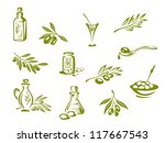 Green olives and organic oil symbols isolated on white background, such a logo template. Jpeg version also available in gallery - stock vector