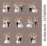 set of wedding ,Bridegroom and Bride stickers - stock vector