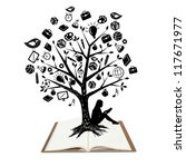 Tree shaped made with school icons set illustration isolated on white - stock photo