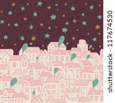 Panorama with cute town. Seamless vector pattern. Stylish night background with stars - stock vector