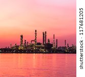 oil refinery plant at twilight morning - stock photo