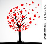 Abstract tree made with hearts. Vector - stock vector