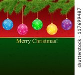christmas greeting card with...   Shutterstock . vector #117699487
