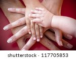 four hands of the family   a... | Shutterstock . vector #117705853