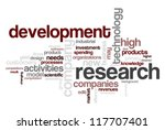 Wordcloud centered on research and development topic - stock photo