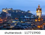 Edinburgh Castle with Cityscape from Calton Hill at dusk Scotland UK - stock photo