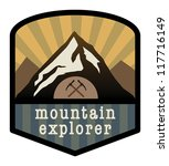 Mountain explorer sign, vector illustration - stock vector