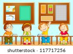 vector illustration of children sitting on table in school - stock vector