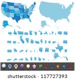 Usa Map Set With Gps Icons