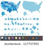 Usa Map Set With Gps Icons