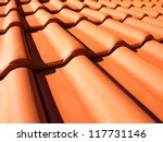roof tile pattern - stock photo