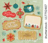 set of vintage christmas and... | Shutterstock .eps vector #117752407