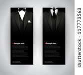 Vector business cards with elegant suit and tuxedo. - stock vector