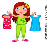 girl holding different clothes  ... | Shutterstock . vector #117773983