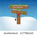 Christmas wooden arrow sign with decoration, Vector Illustration. - stock vector