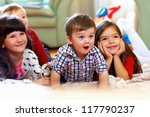 group of happy kids watching tv ... | Shutterstock . vector #117790237