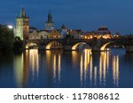Evening view of the Charles Bridge in Prague, Czech Republic - stock photo