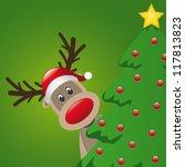 reindeer with santa hat behind... | Shutterstock .eps vector #117813823