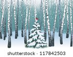 birches in the winter forest | Shutterstock .eps vector #117842503