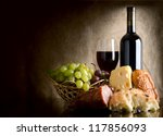 wine  cheese  grapes and... | Shutterstock . vector #117856093