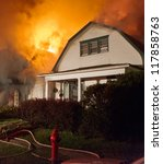 a house fire with heavy smoke... | Shutterstock . vector #117858763