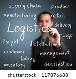 business man writing logistics concept - stock photo