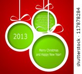 Abstract green Christmas balls cutted from paper on red background. Vector eps10 illustration - stock vector