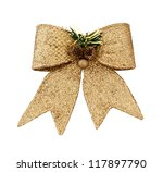 Brilliant gold bow - a Christmas ornament.isolated - stock photo