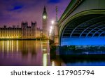HDR image of big ben and westminster bridge - stock photo