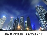 Shanghai Lujiazui Finance and Trade Zone of the modern city night backgrounds - stock photo