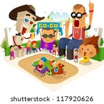 Watching Horse Race. Vector - stock vector