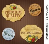 vintage labels with flowers | Shutterstock .eps vector #117920893