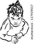 sketch boy with the dishevelled ... | Shutterstock .eps vector #117929017
