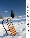 Sled on the snow - stock photo