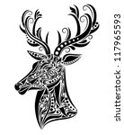 Pattern in a shape of a deer. - stock vector