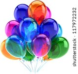 Balloons party happy birthday decoration colorful translucent. Joy fun positive emotion abstract. Holiday anniversary retirement celebration concept. Detailed 3d render. Isolated on white background - stock photo
