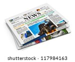 Stack Of Newspapers With...