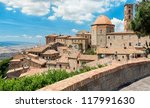 "View of the roofs of a small town ""Volterra"" ; in Tuscany, Italy - stock photo"
