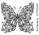 Decorative fantasy lacy vintage butterfly isolated on white (vector) - stock vector