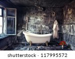 vintage bathtub in grunge interior (photo compilation) - stock photo