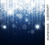 Christmas Winter Holiday Abstract Background With Snowflakes, Lights and Stars - stock vector