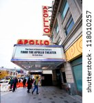 NEW YORK CITY - OCT 26: Marquee for Apollo Theater in Harlem, NYC on Oct 26, 2012. This historic music hall is one of the oldest in NYC and known exclusively with African-American performers. - stock photo