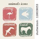 silhouette animals over beige... | Shutterstock .eps vector #118028053