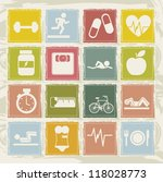 cute  fitness icons over beige... | Shutterstock .eps vector #118028773