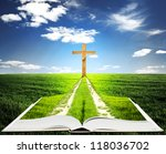 Open bible with grass and a way walking towards a cross - stock photo