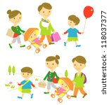 family shopping picnic | Shutterstock .eps vector #118037377