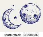 moon and lunar craters. doodle... | Shutterstock .eps vector #118081087