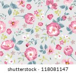 seamless cute vintage tiny... | Shutterstock .eps vector #118081147
