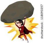 comic super girl throwing big... | Shutterstock .eps vector #118093357